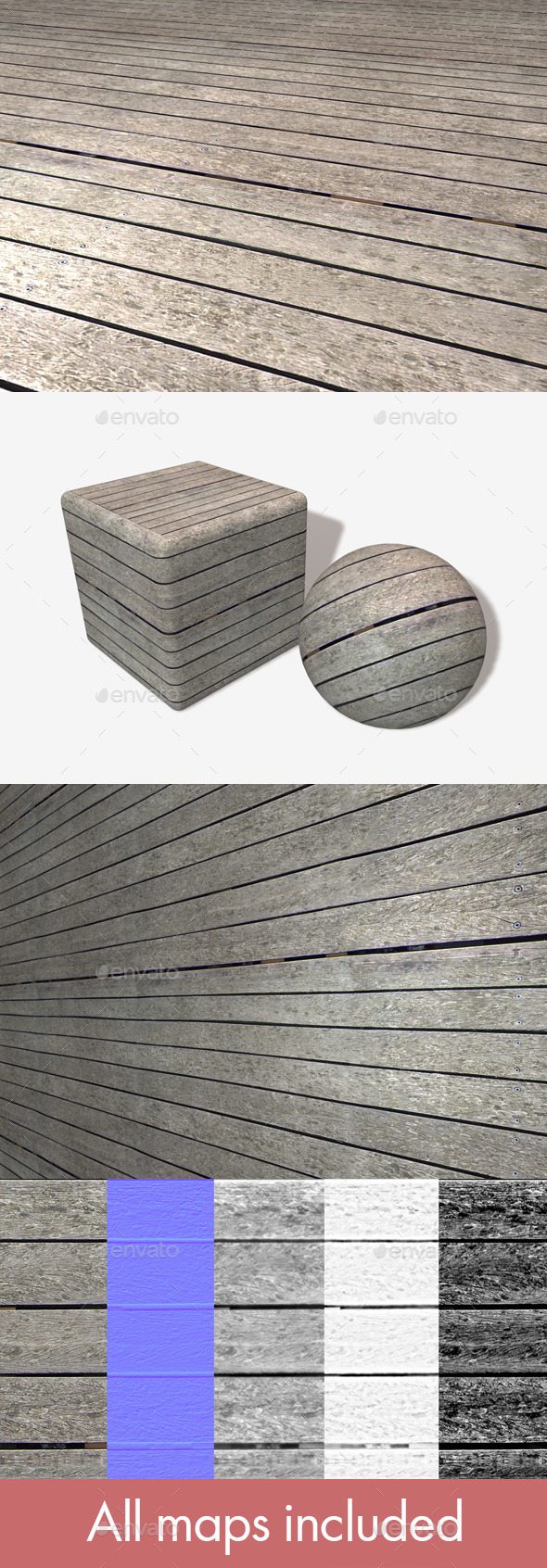 Weathered Wooden Planks Seamless Texture - 3DOcean Item for Sale