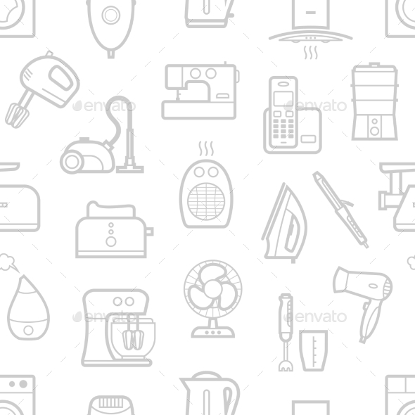 GraphicRiver Seamless Pattern Of Home Appliances Icons 11494938