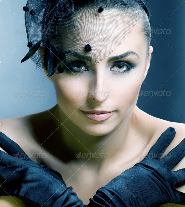Retro Styled Beautiful Young Woman portrait. Vintage - Stock Photo - Images