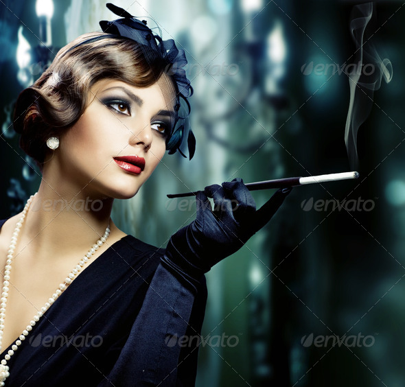 Retro Woman Portrait - Stock Photo - Images
