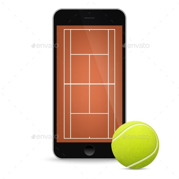 GraphicRiver Black Smartphone With Tennis Ball And Field On 11495183