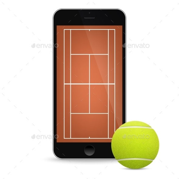 GraphicRiver Black Vector Smartphone With Tennis Ball And Field 11495196