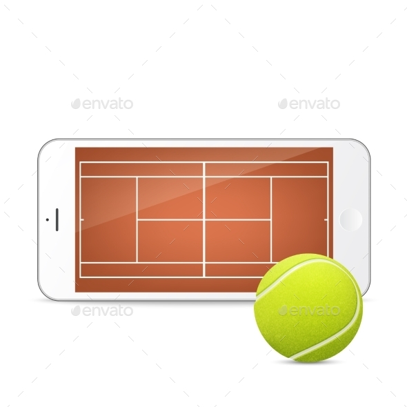 GraphicRiver White Smartphone With Tennis Ball And Field 11495199
