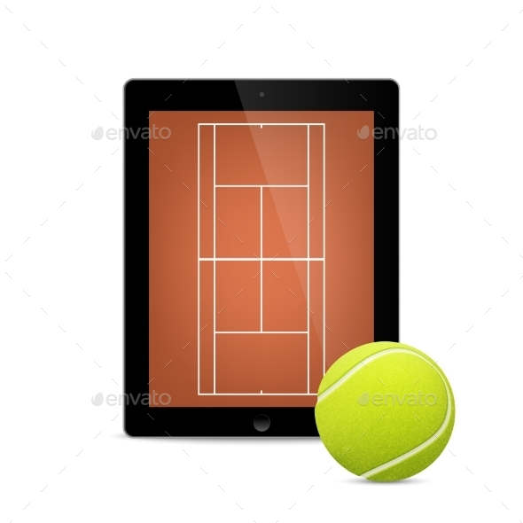 GraphicRiver Black Tablet With Tennis Ball And Field 11495217