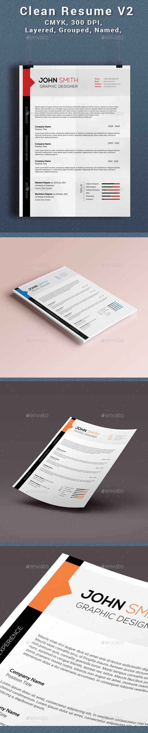 GraphicRiver Clean Creative Resume V2 11495524