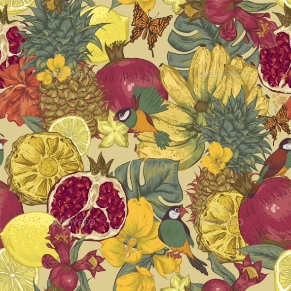 GraphicRiver Vintage Seamless Background Tropical Fruit 11496102