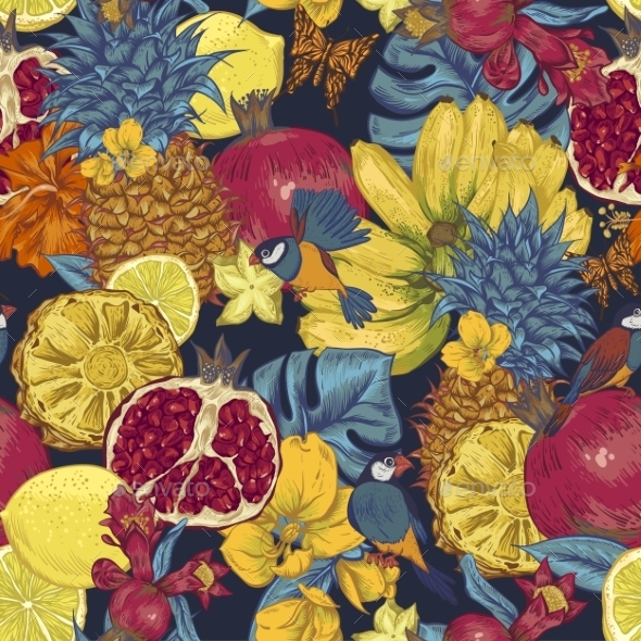 GraphicRiver Vintage Seamless Background Tropical Fruit 11496116