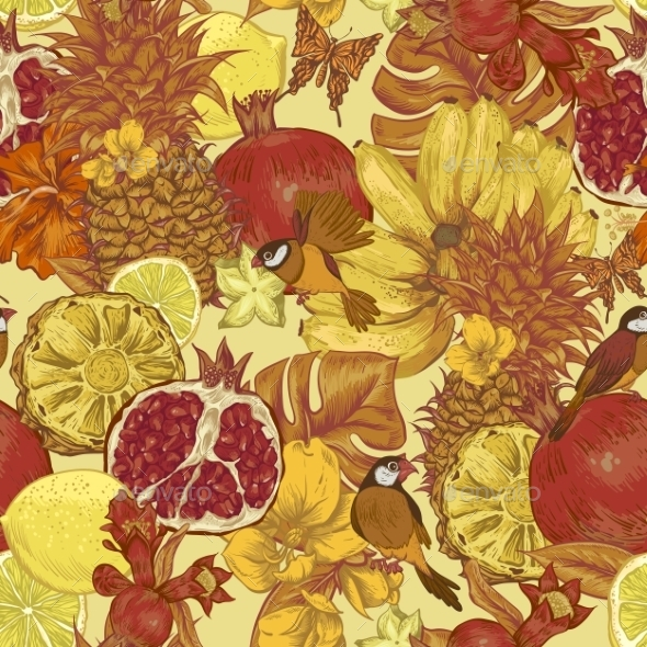 GraphicRiver Vintage Seamless Background Tropical Fruit 11496238