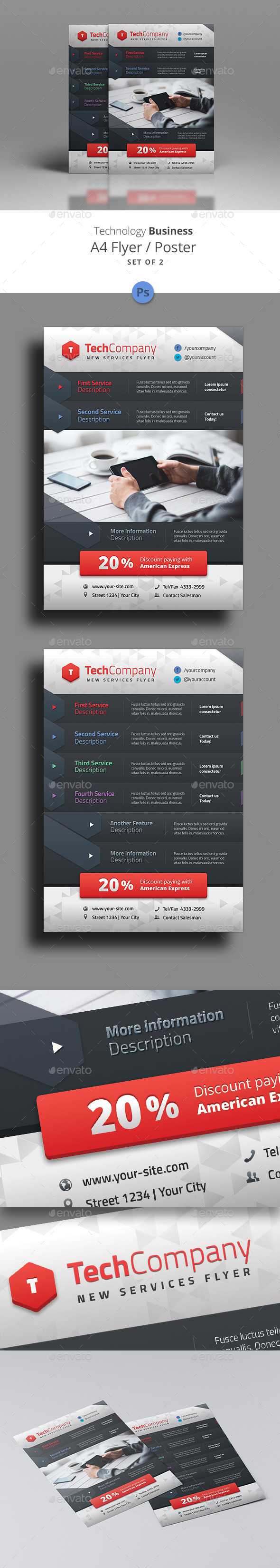 GraphicRiver Set of 2 Tech Business A4 Flyers 11496679