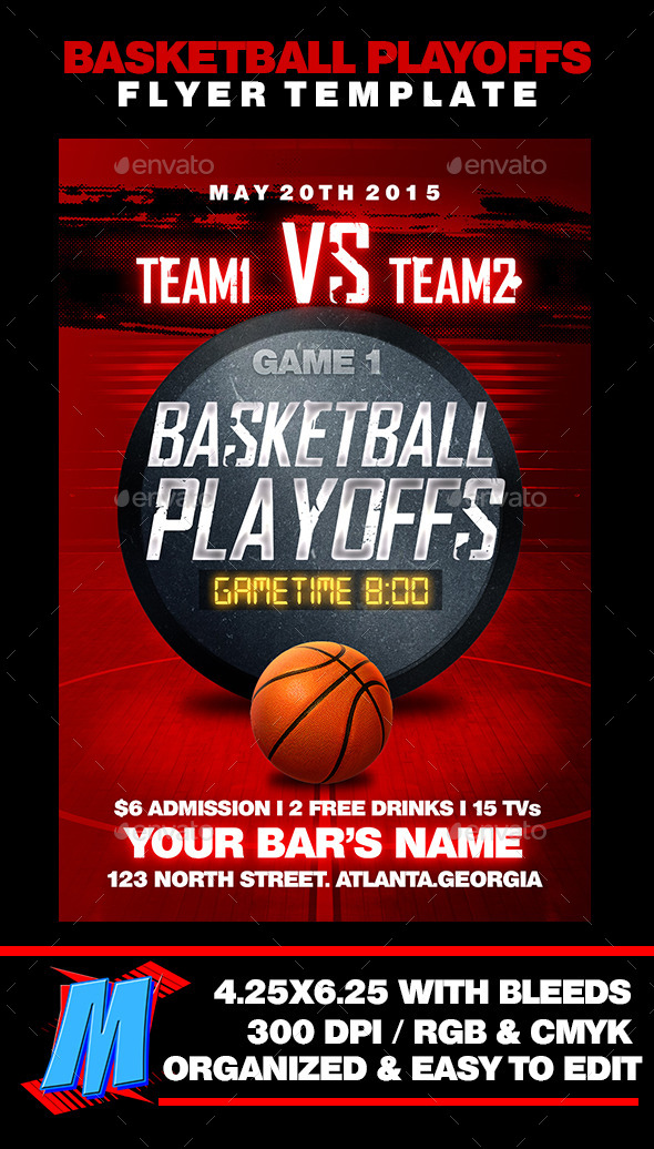 GraphicRiver Basketball Playoffs Flyer Template 11497053
