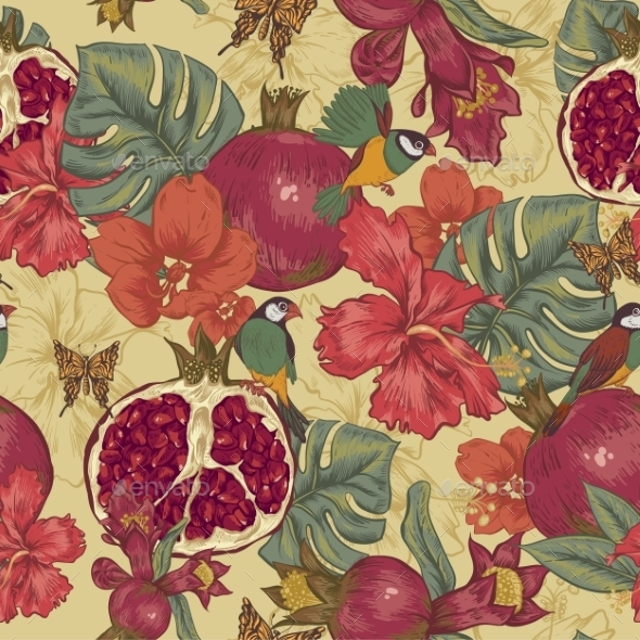 GraphicRiver Vintage Seamless Background Tropical Fruit 11498124