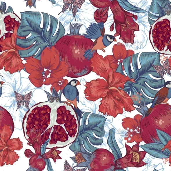 Vintage Seamless Background, Tropical Fruit