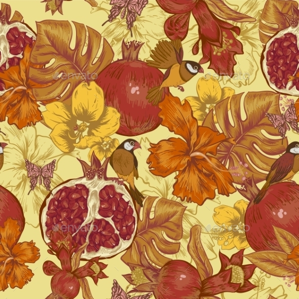 GraphicRiver Vintage Seamless Background Tropical Fruit 11498230