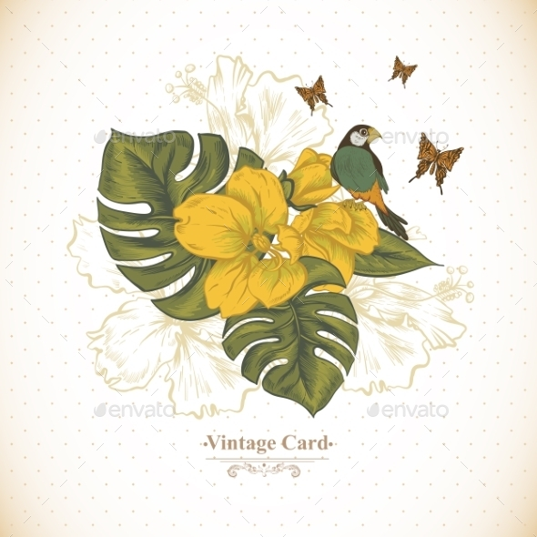 GraphicRiver Vintage Greeting Card Tropical Flowers Butterfly 11498247