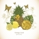 Vintage Greeting Card Tropical Fruit, Flowers - GraphicRiver Item for Sale