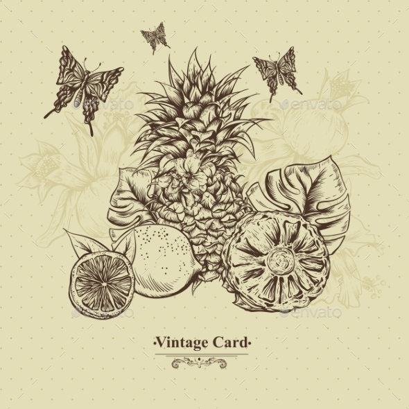 GraphicRiver Vintage Greeting Card Tropical Fruit Flowers 11498386