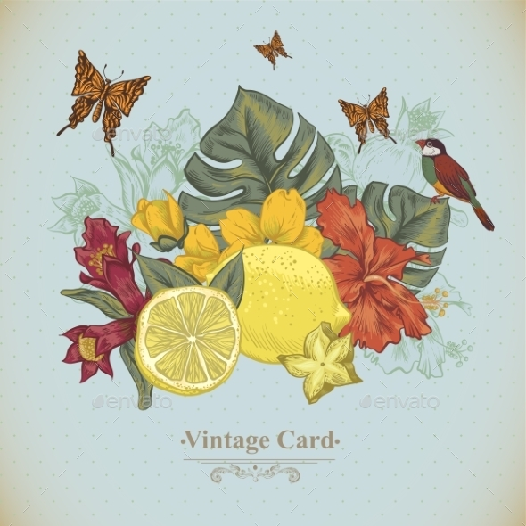 GraphicRiver Vintage Greeting Card Tropical Fruit Flowers 11498390
