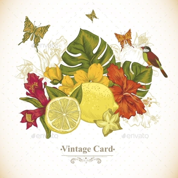 GraphicRiver Vintage Greeting Card Tropical Fruit Flowers 11498431