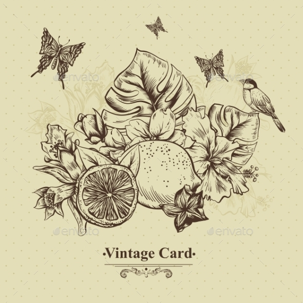GraphicRiver Vintage Greeting Card Tropical Fruit Flowers 11498433
