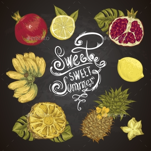 GraphicRiver Vintage Set Of Tropical Fruit On The Chalkboard 11498434