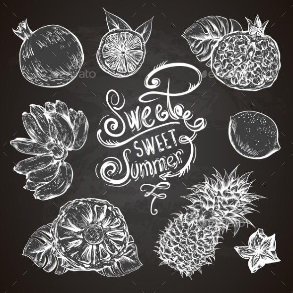GraphicRiver Vintage Set Of Tropical Fruit On The Chalkboard 11498437