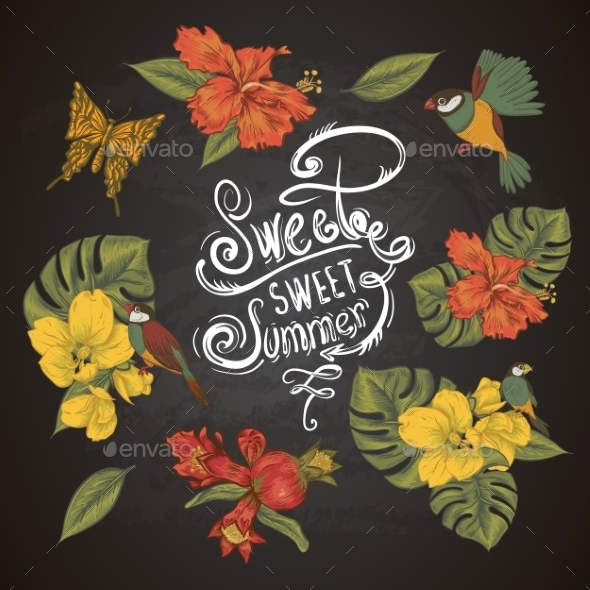 GraphicRiver Vintage Collection Of Tropical Flowers Butterfly 11498439