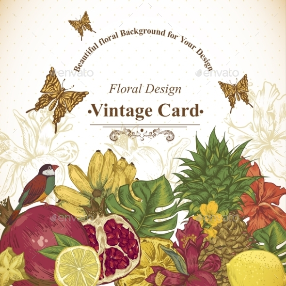 GraphicRiver Vintage Greeting Card Tropical Fruit Flowers 11498448