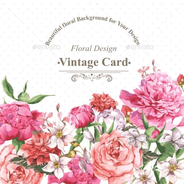 GraphicRiver Vintage Watercolor Greeting Card With Blooming 11498503