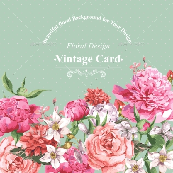 GraphicRiver Vintage Watercolor Greeting Card With Blooming 11498505