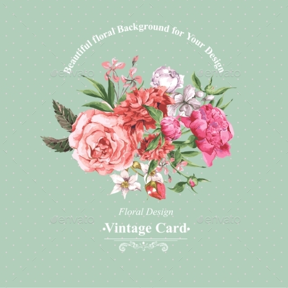 GraphicRiver Vintage Watercolor Greeting Card With Blooming 11498548
