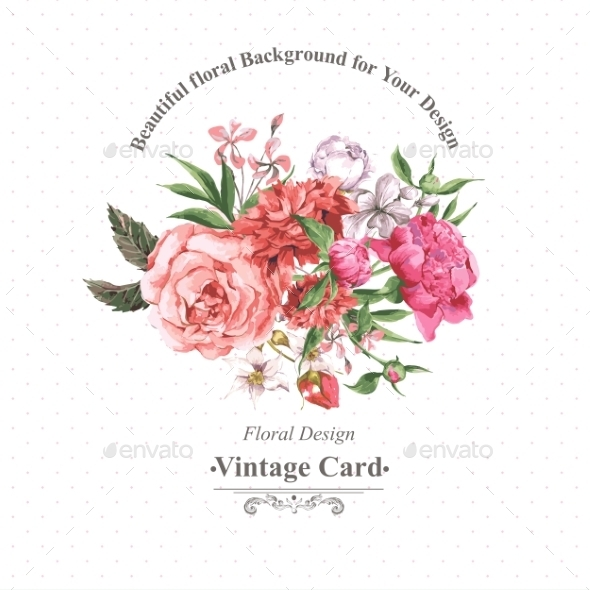 GraphicRiver Vintage Watercolor Greeting Card With Blooming 11498594