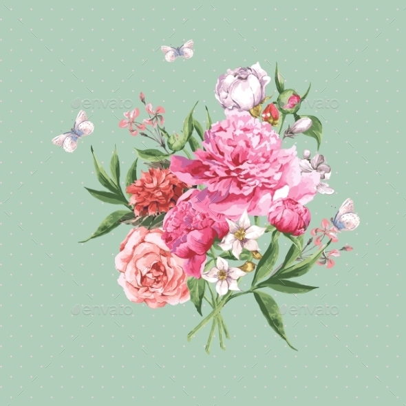 GraphicRiver Vintage Watercolor Greeting Card With Blooming 11498600