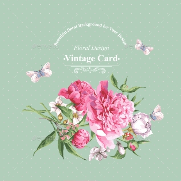 GraphicRiver Vintage Watercolor Greeting Card With Blooming 11498602