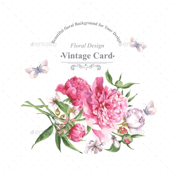 GraphicRiver Vintage Watercolor Greeting Card With Blooming 11498606