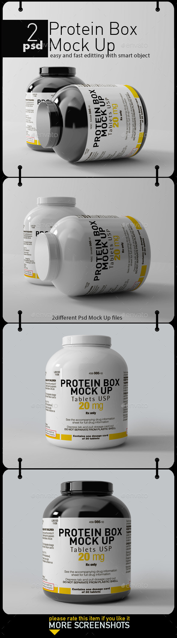 GraphicRiver 2 Protein Canister Mock Up 11499196