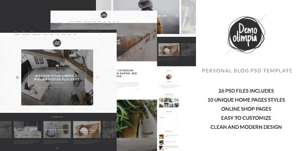 ThemeForest Demo Olimpia Personal Blog PSD Template 11499347