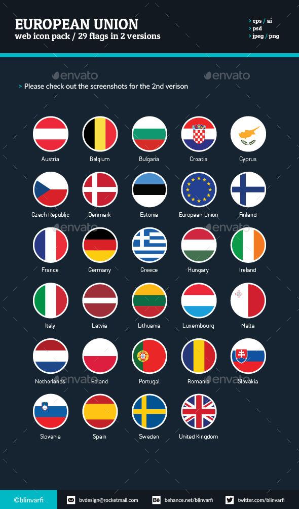 GraphicRiver European Union Flat Round Icon Flags 11499648