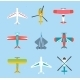 Color Airplanes And Helicopters Icons Set - GraphicRiver Item for Sale