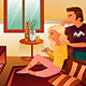 Couple Watching TV at Home - GraphicRiver Item for Sale