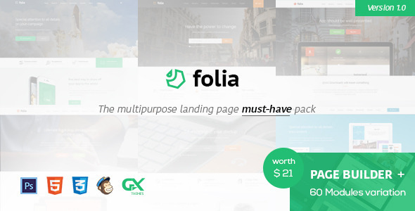 ThemeForest Folia Landing Pages Pack With Page Builder 11451246