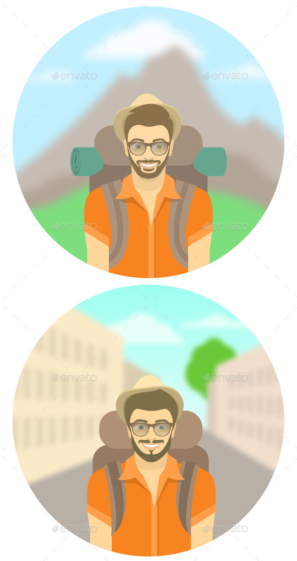 GraphicRiver Young Man Tourist with Backpack 11500957