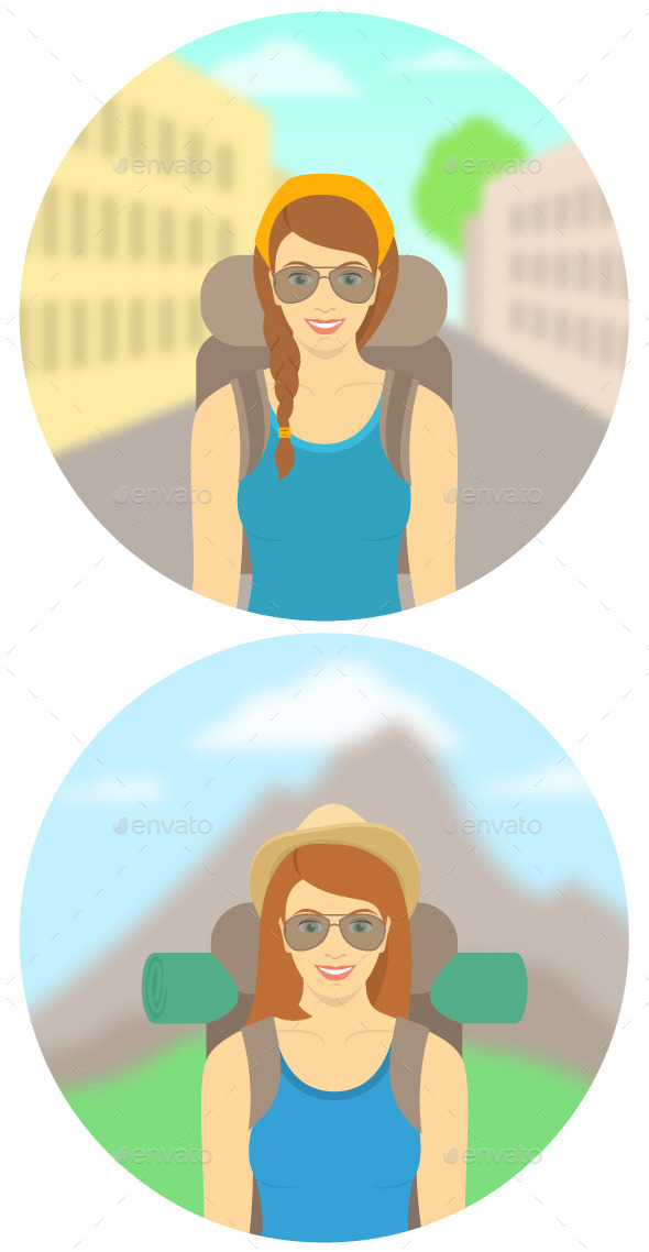 GraphicRiver Young Woman Tourist with Backpack 11501093