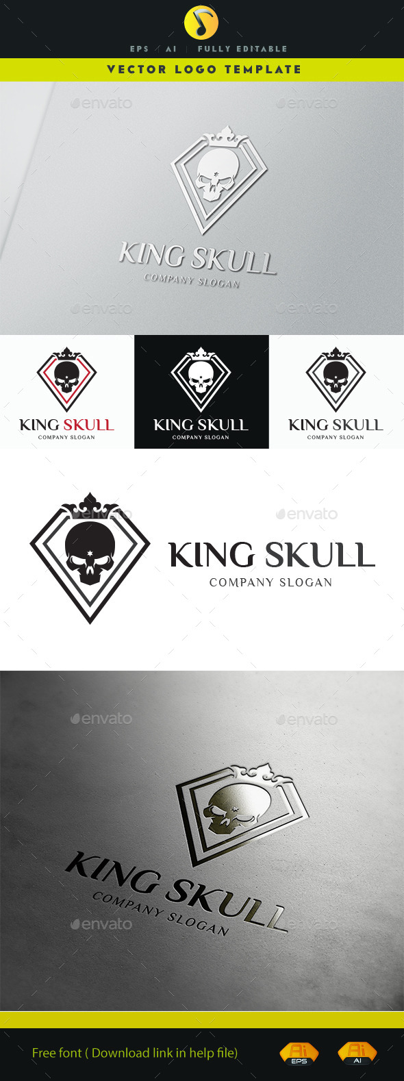 GraphicRiver King Skull Logo 11501119
