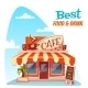 Vector Illustration Of Cafe Building With Bright - GraphicRiver Item for Sale