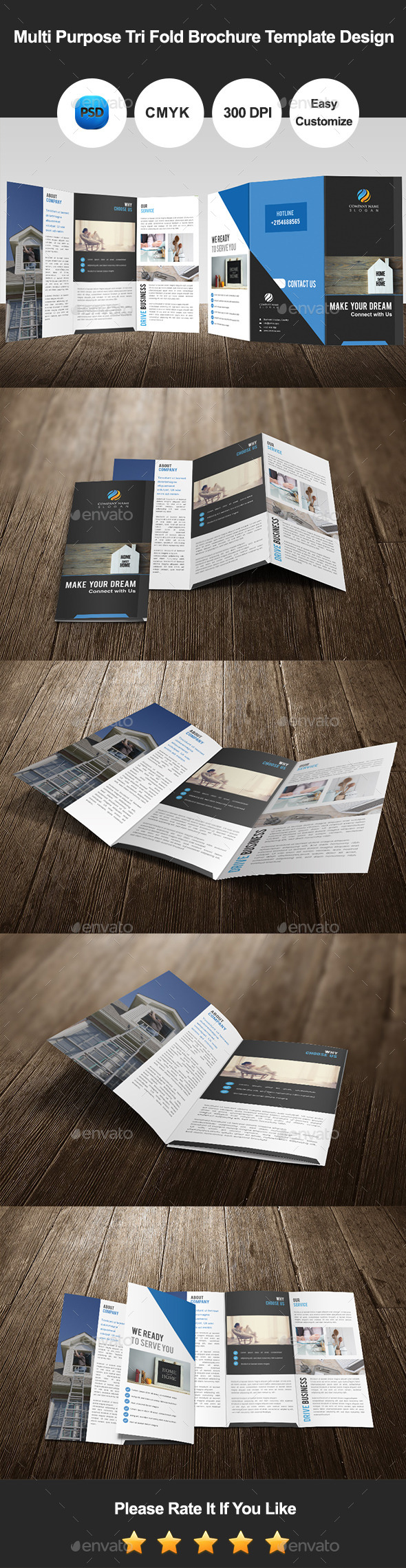 GraphicRiver Multi Purpose Tri Fold Brochure Template Design 11502614