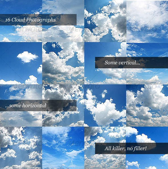 Cloud Backgrounds (Pack of 16 Clouds) - Nature Textures