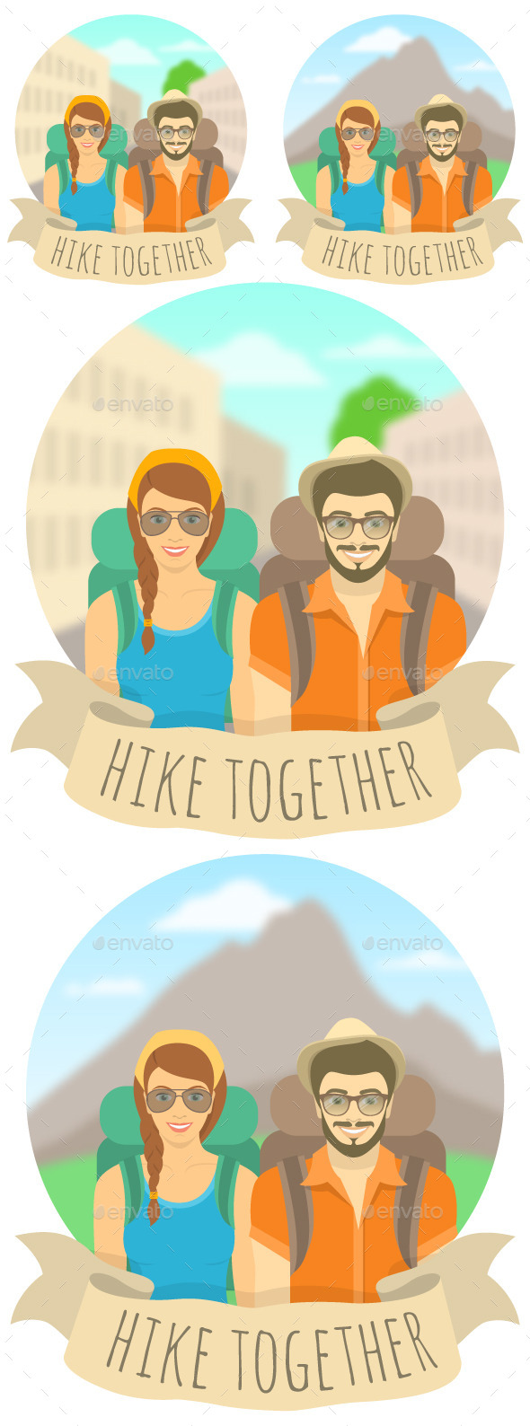 GraphicRiver Young Couple Man and Woman Tourists with Backpacks 11502710