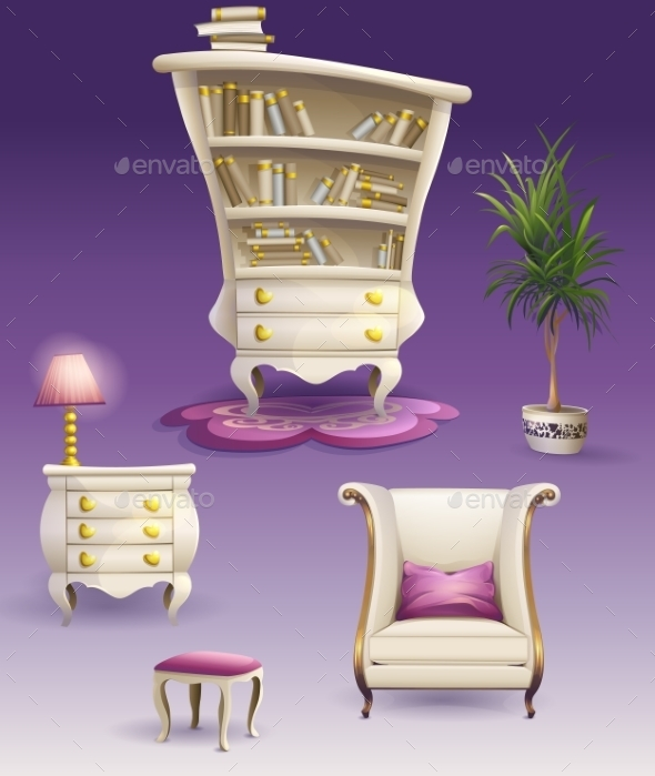 GraphicRiver Set Cartoon White Bedroom Furniture And Cabinet 11502955