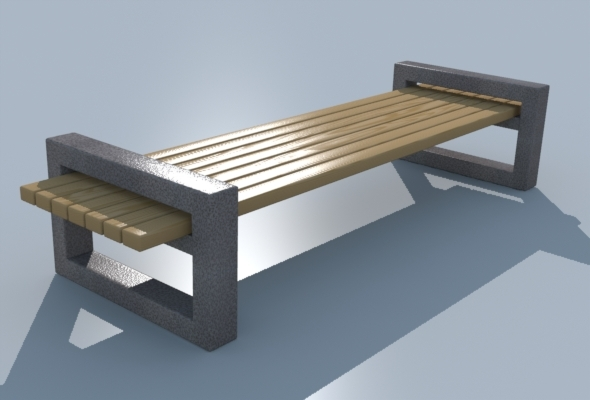 Bench_wooden - 3DOcean Item for Sale