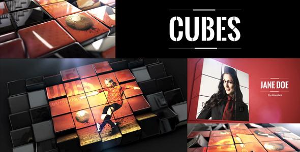 AE模板:三维立方体方块翻转 魔方视频图片展示 电视栏目包装片头e3d v2模板cubes